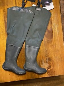 Frogg Toggs 2-Ply Poly/Rubber Steel Shank  Hip Boots - Size 7 Green NWT