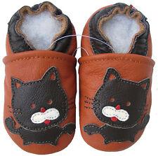 carozoo black cat orange 6-12m new soft sole leather baby shoes