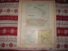 Antique Hawaii Hawaiian Islands Puerto Rico Island Of Guam Milo Maine Hndclr Map