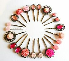 Pink Hair Grips Bobby Pins Clips Slides Vintage Bridal Accessories Flower Girl