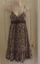 Max & Cleo Size 6 Silk Brown/White Artzy Pattern Lined Women's Dress