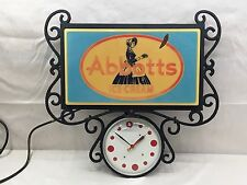 Vintage Abbotts Ice Sign With Clock Advertising
