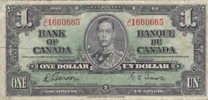 1 DOLLAR VG BANKNOTE FROM BRITISH CANADA 1937 PICK-58
