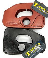 TAGUA Black Brown Leather Ultimate Shoot-Thru Pocket Holster - Pick Gun & Color