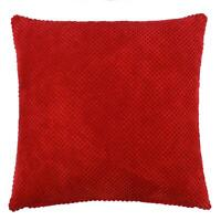 """FILLED MODERN THICK SOFT CHENILLE SPOT DOT RED CUSHION 22"""""""
