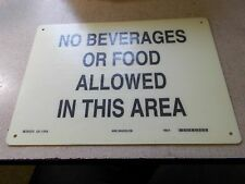 """NEW Brady 70436 14"""" x 10"""" Safety Sign """"No Beverages or Food""""  *FREE SHIPPING*"""