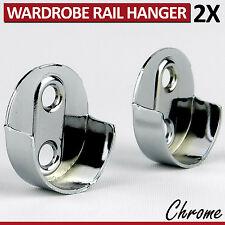 2 Rod Socket Fittings Wardrobe Rail Hanger Standard Tube Support End Brackets CR