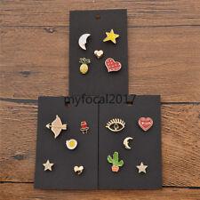 Tiny Enamel Star Heart Cactus Brooch Cartoon Cute Pins Women Gifts 5 Pcs/1 Set