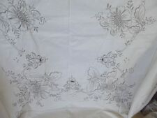"""MADEIRA Linen Tablecloth 62"""" x 92"""" Heavy Hand-Embroidered GRAY / IVORY HEIRLOOM"""