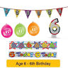 Age 6 - Happy 6th Birthday Party Balloons Banners & Decorations
