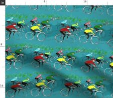 New listing Bicycle Race Bike Cycling Sports Wheels Spoonflower Fabric by the Yard