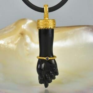Gold Vermeil Sterling Mano Fico Figa Hand Pendant Carved Horn Sapphire 6.50 g