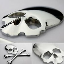 2017 Hot Off Road Body Fenders Chrome Metal 3D Skull Head Emblem Sticker Badge