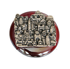 Jewish Red Glass & Pewter Magnet, Jerusalem Skyline From Israel By Koresh *