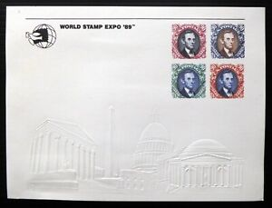 USA 1989 World Stamp Expo with 4 Imprinted 90c Lincoln Stamps DH74