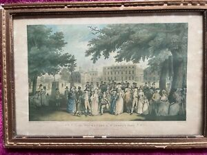 Large steel engraving style picture in frame