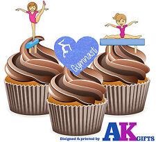 PRECUT I Love Gymnastics Girls Mix 12 Edible Cupcake Toppers Birthday Decoration