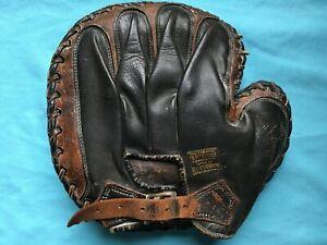 GORGEOUS antique 1910s 2 tone Horace Partrige catchers mitt KofC vintage RARE !