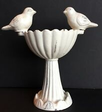"Vintage Rustic White Cast Iron Mini Bird Bath Candle Holder Chippy 8"" Tall"