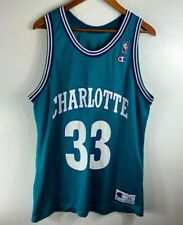 Vintage Alonzo Mourning Charlotte Hornets Champion Jersey Size 44 Teal 33