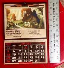 Vintage 1936 Cooking Club Calendar Funeral Directors Funerary Advertising A++