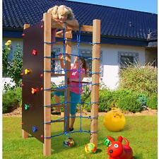 Kletterturm mit Kletternetz Kletterwand Reckstange & Leiter Spielturm Holz Multi