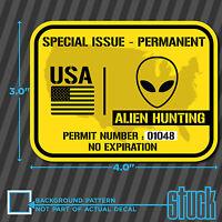 "United States Alien Hunting Permit - 4.0""x3.0"" - printed vinyl decal sticker ufo"