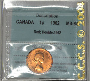 """CANADA 1 cent 1962 certified MS-64, Red -Doubled """"962"""" by CCCS - Zoell #R86c"""