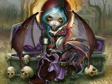 Jasmine Becket-Griffith art print SIGNED Vampire Dragonling cemetery dragon