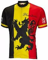 World Jerseys Lion of Flanders Mens Cycling Jersey Black/Yellow/Red Large Bike