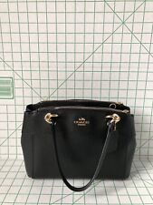 Coach Mini Brooke Carry All F25395 Satchel Crossgrain Leather Purse black