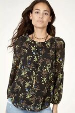 NWT STELLA & DOT Maette Sophie Black Floral Print Blouse Top Shirt Large