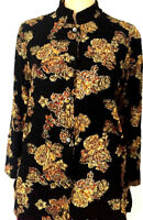 Blouse Size S Glitter Button Front Black Gold Long Sleeve Top Coldwater Creek