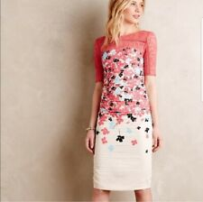 Tracy Reese Bodycon Sheath Dress 8P 8 Petite Floral Lace Ruched Anthropologie
