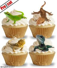 PRE-CUT LIZARDS EDIBLE WAFER PAPER CUP CAKE TOPPERS PARTY REPTILE DECORATIONS
