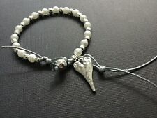 Silver Grey Cord Bracelet With A Hammered Heart Pearls And Tassel Boho Bijoux