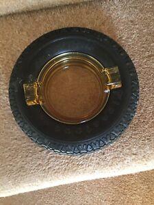 Vintage 1930's Firestone Tyre - Yellow Glass Ashtray