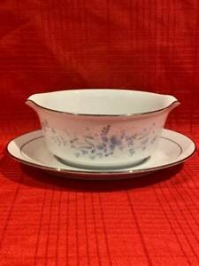 NORITAKE GRAVY BOAT WITH ATTACHED UNDERPLATE ~ CAROLYN #2693