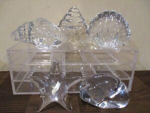 Crystal Sea Life Shells, Starfish, Sea Lion, Figurines/Paperweights (4pcs)