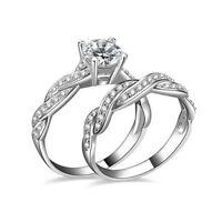 Lady Engagement Womens Wedding Gemstone CZ Ring Set Band Rings Size 6-9 Jewelry