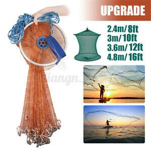 16FT Hand Cast Fishing Net Easy Throw Bait Strong Tire Line Mesh w/ Sinker q