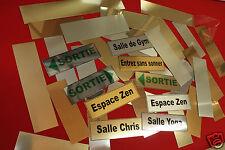 lot 5 Plaques Signalétique 5 Textes au choix ! sur fond OR brossé.