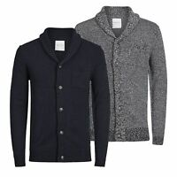 JACK & JONES Instinct Mens Cardigan Jumper Shawl Neck Button Up Sweater