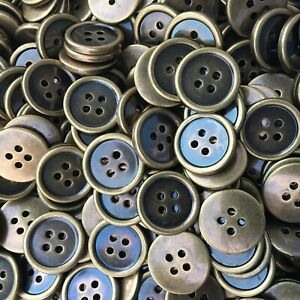 16mm 18mm 20mm 23mm 26mm Antique Brass Plastic 4 Hole Buttons Sewing Jackets