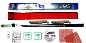 Tenkara Style 10ft rod CS with Furled Tapered leader and fly insert Key Ring Kit