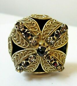 """Antique Hatpin Amethyst Rhinestones Textured Brass 13"""""""