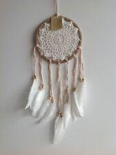 Handmade Rattan 16.5cm x 55cm White Crochet Web Dream Catcher White Feathers