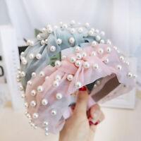 Women's Lace Knot Headband Hairband Pearl Tie Head Band Hair Hoop Accessories