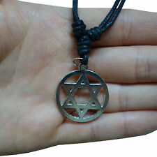 Jewish Star of David Pendant Chain Necklace Choker Silver Tone Mens Womens Boys