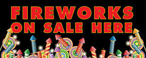 FIREWORKS BONFIRE NIGHT SOLD HERE BANNER SIGN PVC with Eyelets + Custom option 3